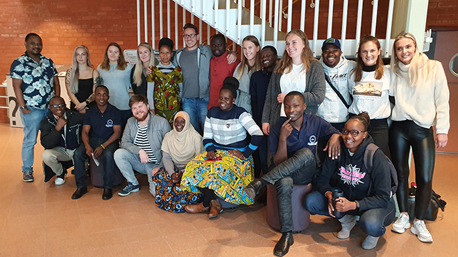 Picture of students from Tanzania and Norway participating in the NOREC project.