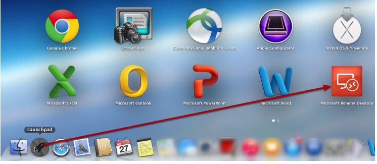 5df0495e Når applikasjonen er installert; Start Microsoft Remote Desktop via  Launchpad.